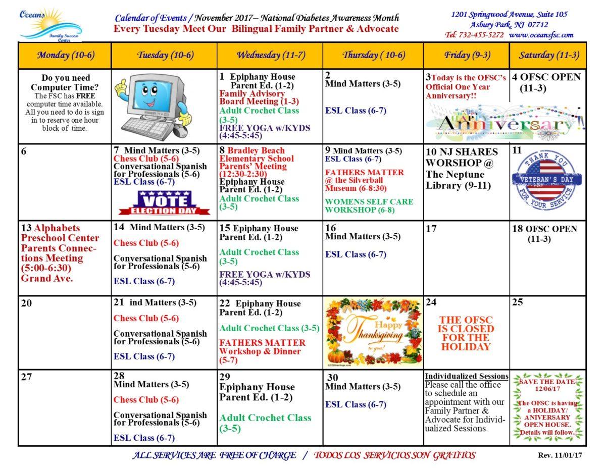 November Program Calendar