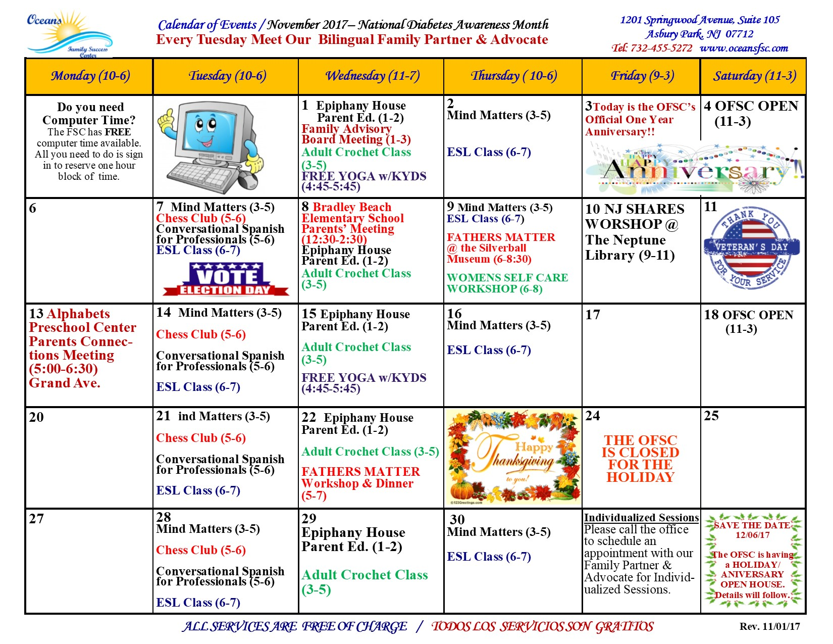 November Program Calendar – Oceans Family Success Center