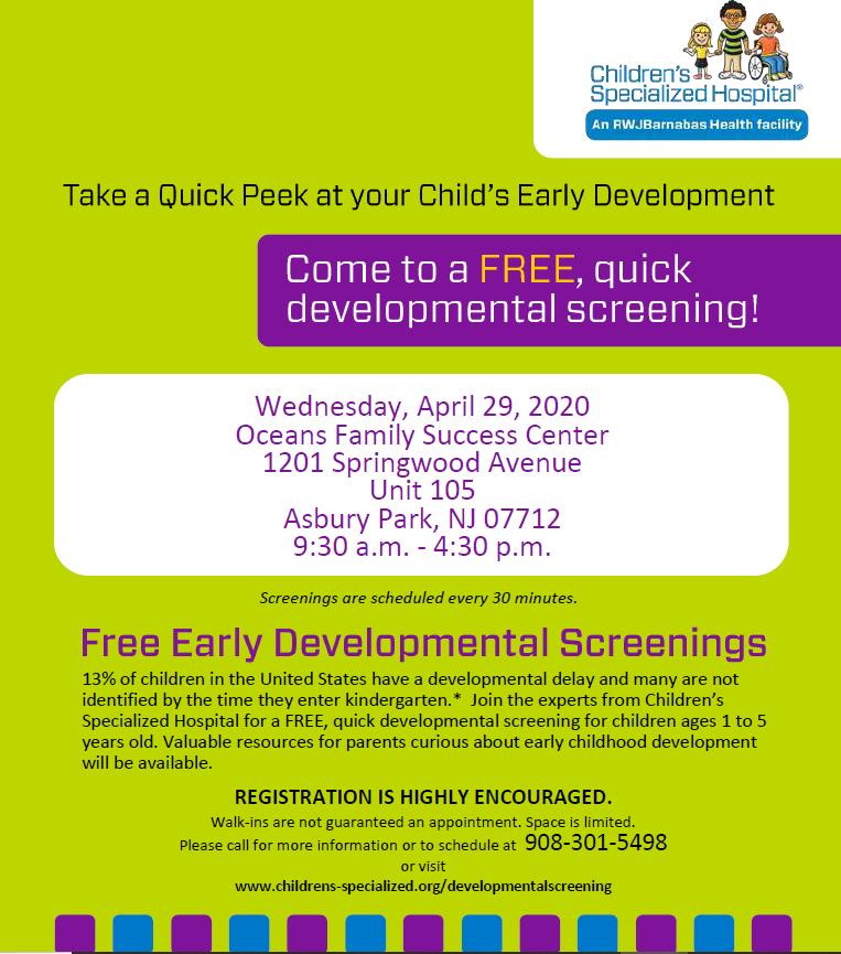 Save the Date, free developmental screenings April 2020