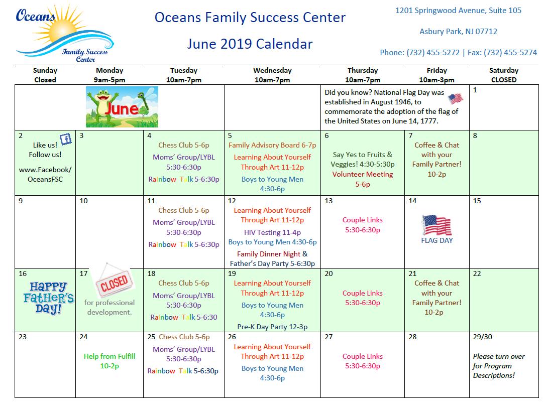June 2019 program calendar
