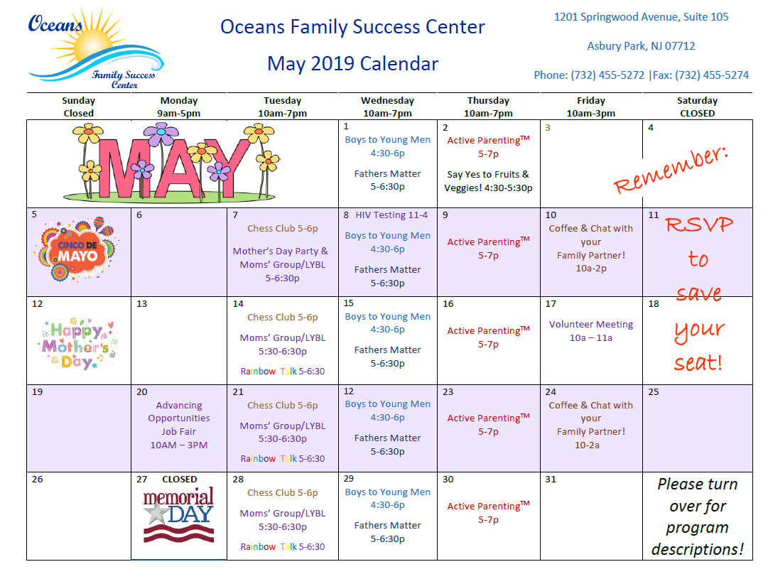 May Calendar of Events!