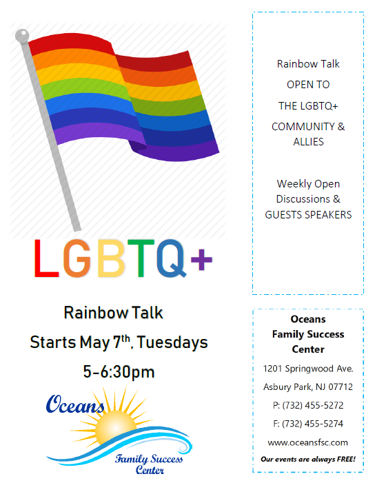 Rainbow Talk, every Tuesday in June, 5:30-6:30p