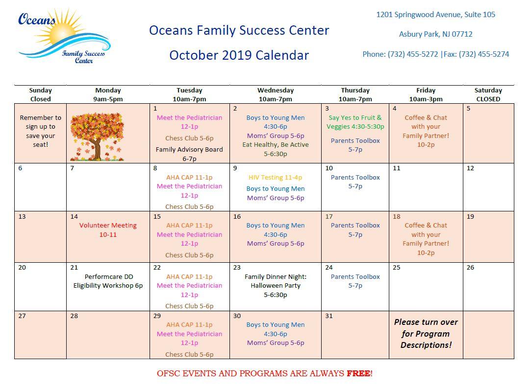 October calendar of events