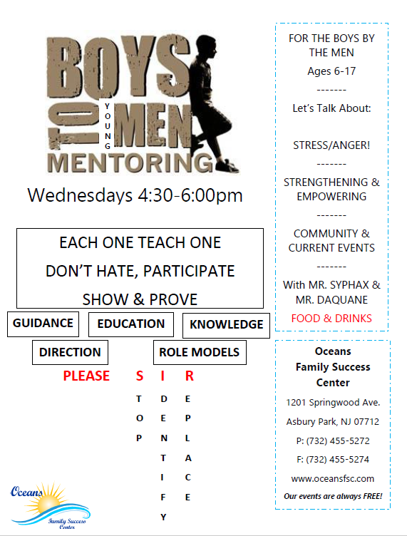 Boys to Young Men – mentoring every Wednesday